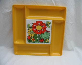 Vintage 1970's Harvest Gold Orange Psychedelic Mod Flower Power Appetizer Hors D'oeuvres Tray Price Imports