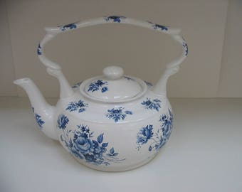 Blue and White Floral Teapot Made in England