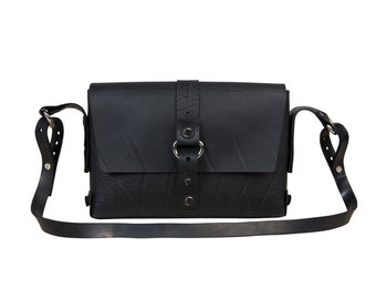 Black Vegan Leather small handbag with adjustable strap 1b5874539
