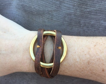 Leather Wrap Bracelet Joanna Gaines Inspired Brass O Ring Etsy
