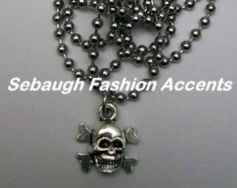 Skull Cross-bones Charm Necklace Set