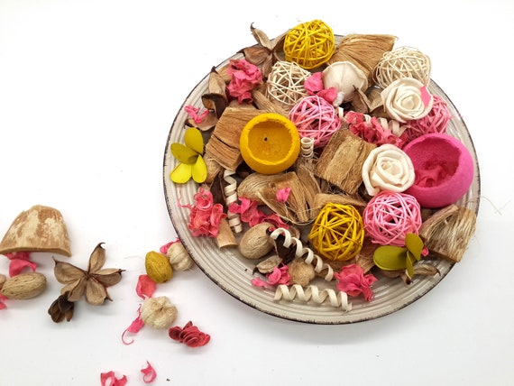 Spring Table Decor Yellow Table Decor Dried Potpourri Potpourri Mix Bowl Filler Spring Pink And White Table Decor Spring Wedding Decor
