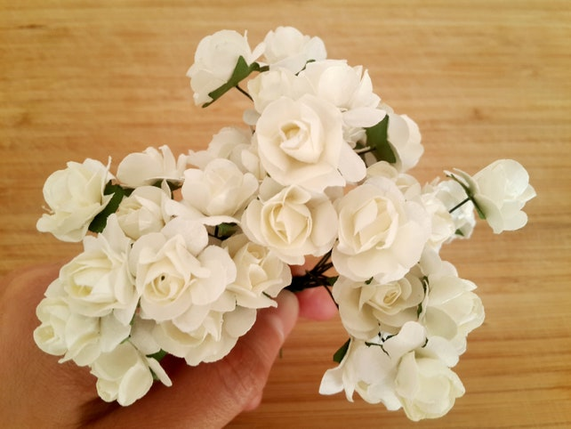 White artificial roses white roses mini artificial flowers etsy image 0 mightylinksfo