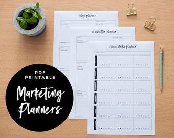 Marketing Suite - Blog Planner, Newsletter Planner and Social Media Planner, PDF Printable