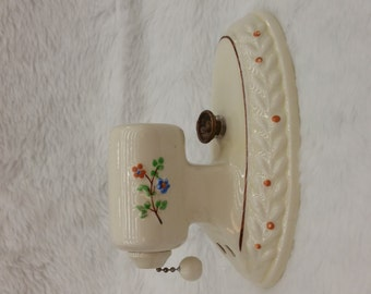 PORCELAIN WALL SCONCE with on off pull chain