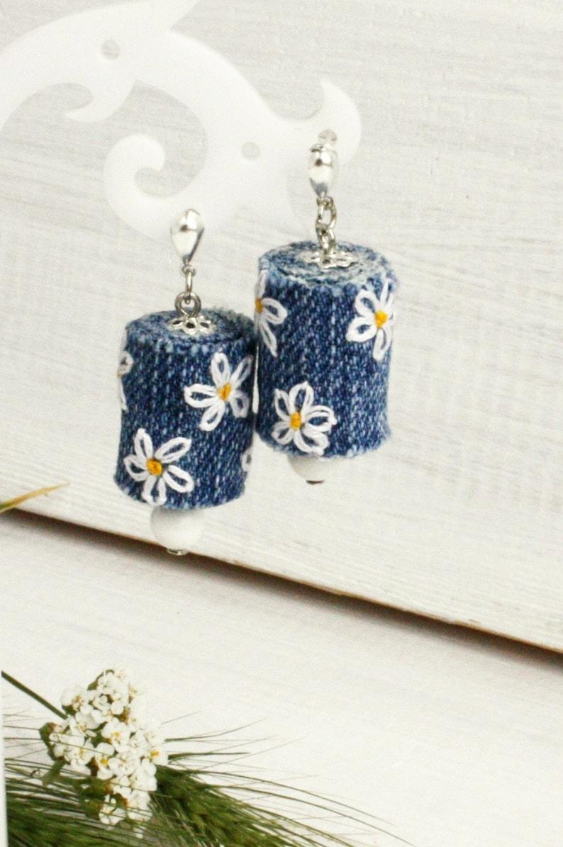 Daisy earrings dangle Denim recycled jewelry
