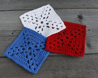 Patriotic coasters set Blue white red coasters American flag drink coasters Beverage cotton coasters Patriotic table decor for 4th of july