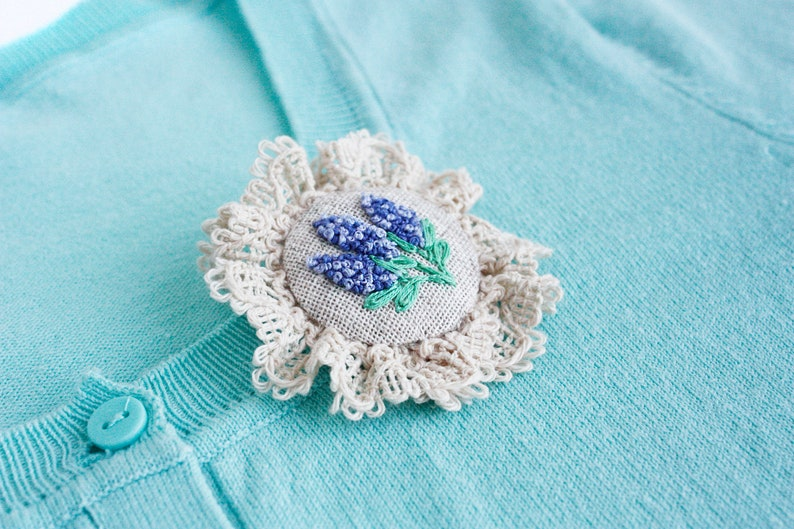 Lilac flower brooch with lace Lavender brooch Textile linen jewelry Bohemian brooch flower Linen anniversary gift for her