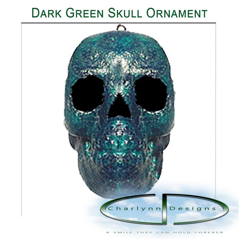 Paper Mache Skull  Dark Green image 0