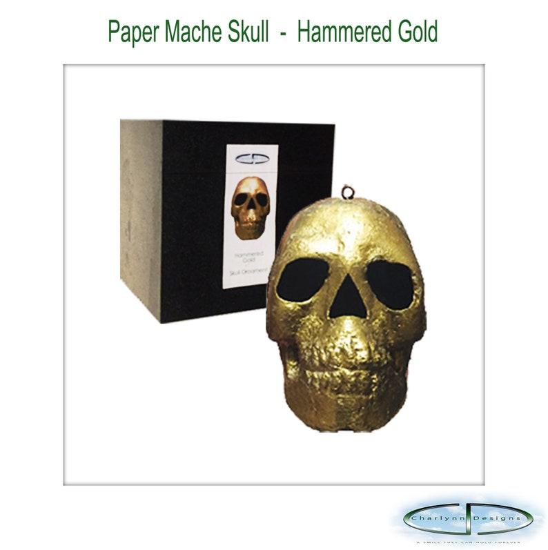 Paper Mache Skull  Hammered Gold image 0