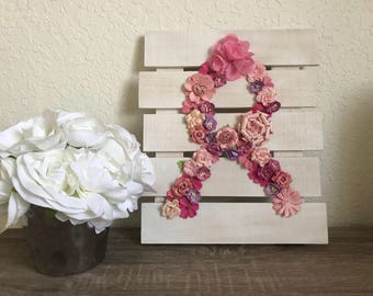 Floral breast cancer awareness wooden pallet!