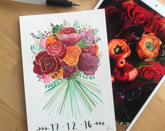 Custom Made Bridal Bouquet Painting, Anniversary Gift, Gifts for Her, Contemporary Watercolour, Wedding Present, A5, Wedding Illustration