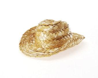 695cea5d72c90 12 Straw Cowboy Hats - Doll Decor - Wedding Favor - Western or Rustic Decor