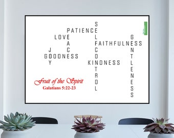 Fruit of the Spirit Downloadable Word Art | Galatians 5 22 | Christian Art | Instant download | Printables | Bible verse art | Scripture art