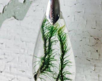 Moss resin pendant, terrarium necklace, green moss necklace, resin moss necklace