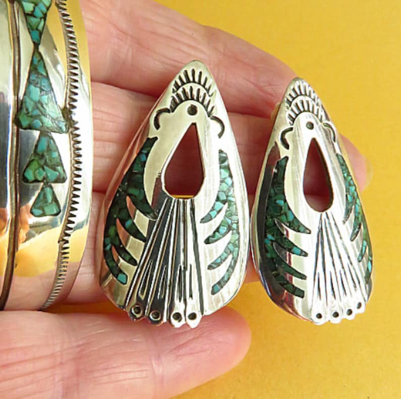 Native Navajo handmade 925 silver bracelet and large earrings Made by  Johnson Yazzie