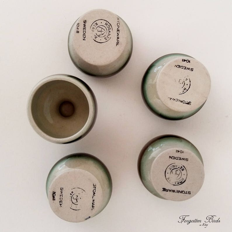 Set of 5 Vintage  Scandinavian Design  Swedish  Sweden  Mid Century  Retro  Modern H\u00f6gan\u00e4s Keramik Stoneware Footed Egg Cups
