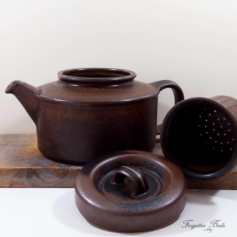 Scandinavian Pottery gift Mid century Arabia teapot Finnish Ulla Procope teapot Ruska brown teapot Ruska brown retro Hygge teapot