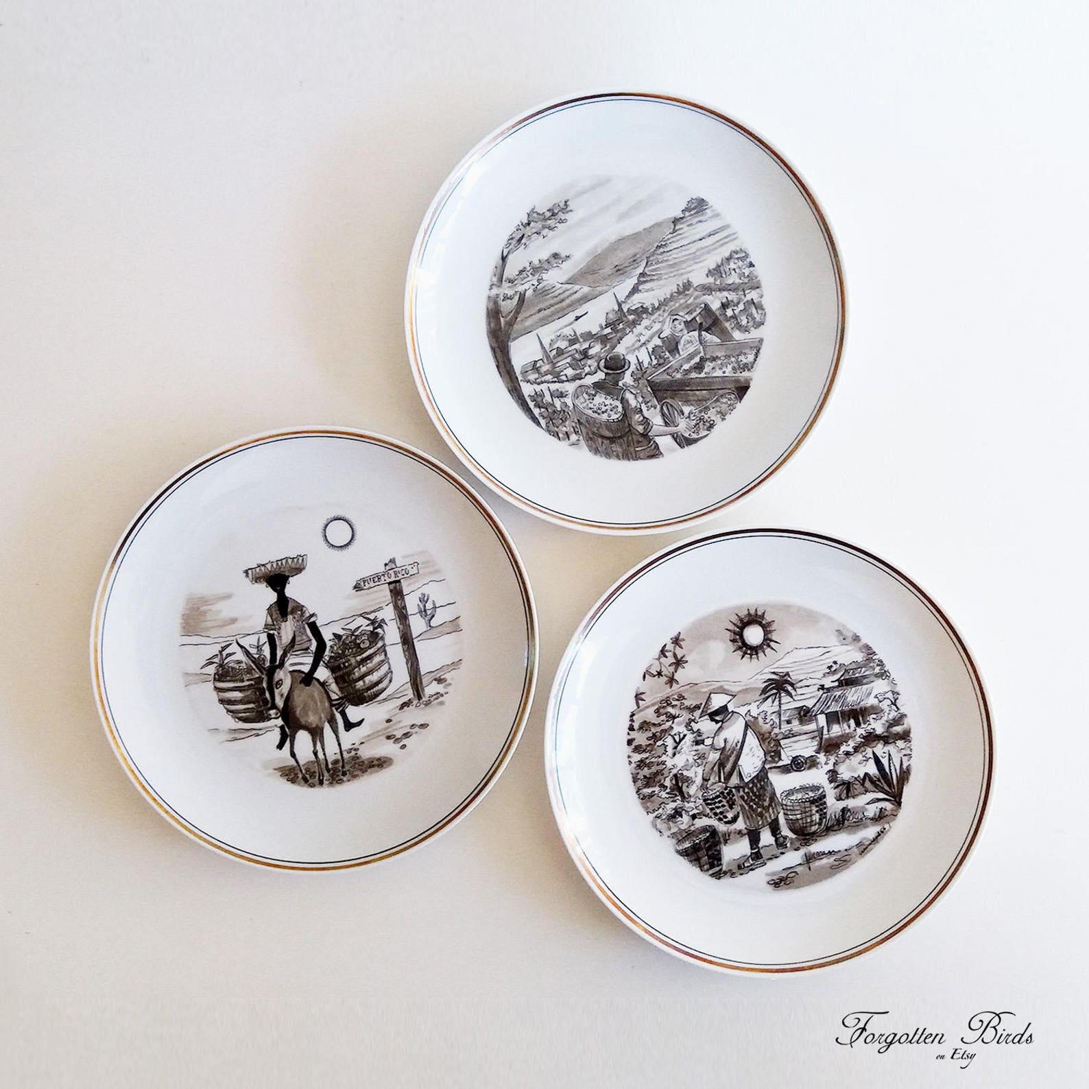 Set fo 3 Upsala Ekeby Karlskrona EXOTICA Plates by Alf   Etsy