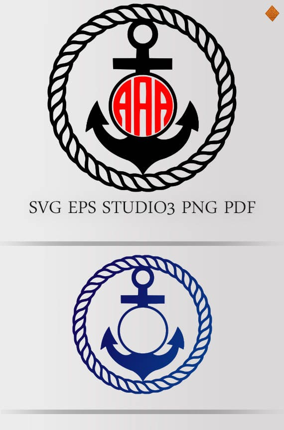 Naval Anchor Monogram Svg Frame Rope Nautical Anchor Frame Etsy