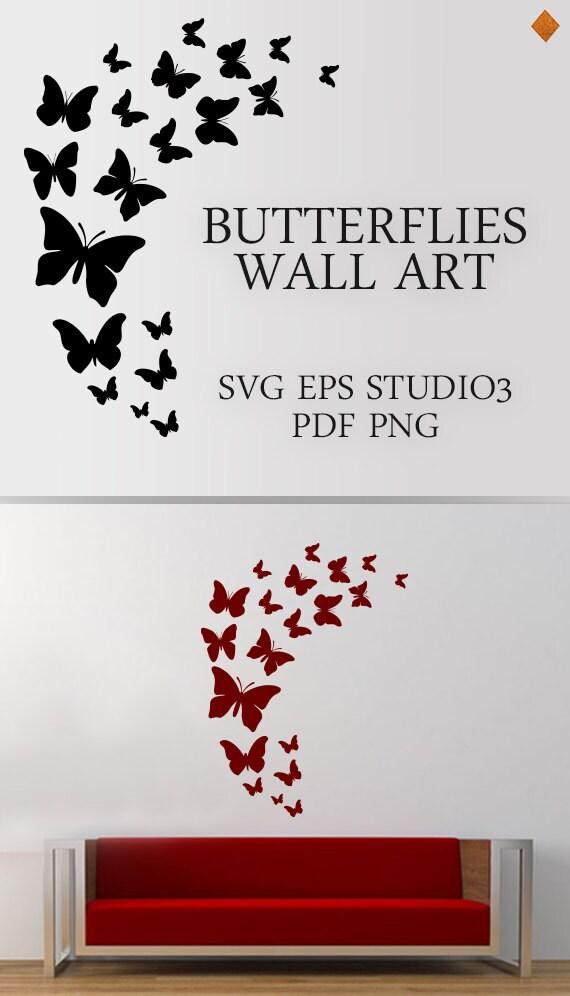 Butterflies Wall Art SVG Butterfly flock wall mural living | Etsy