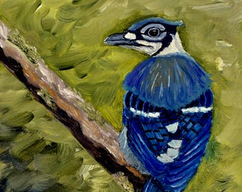 Bird Painting, The Vocabulizer (Original Oil Painting), Small Painting
