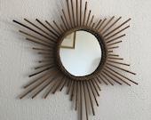 Vintage rattan hexagram star mirror 1960 - 56 cm