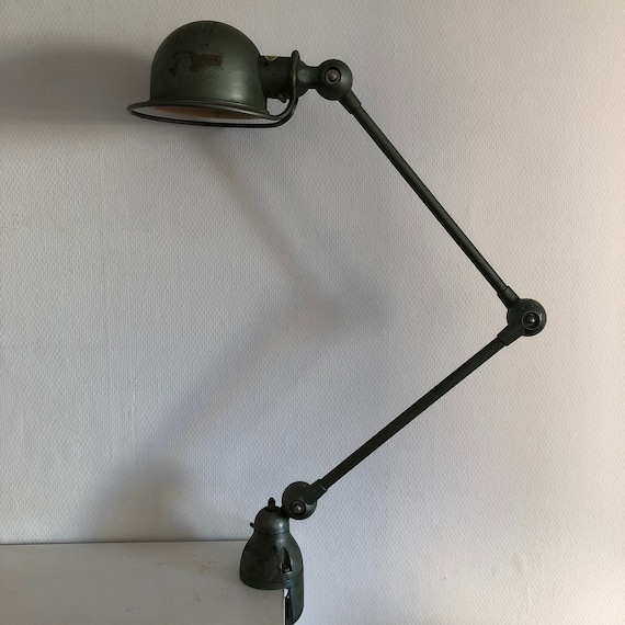 Lampe Jielde 2 Bras Verte D Origine Vintage 1960 Etsy