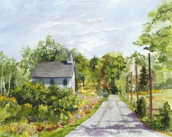 Original Watercolor Painting Country Church Rural Landscape Fathers Day Gift Matted Ready To Frame Old Scene