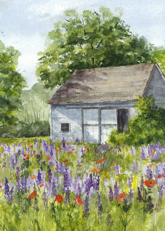 Watercolor Landscape Print White Barn Farmhouse Decor