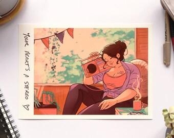 Stereo Heart - Archival Print - A4 & A5 Print - Comic Animation Tea Bright Relaxed Self-Love Feminist Colour Original Art Illustration