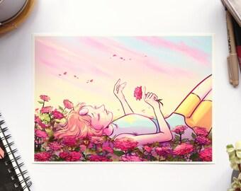 Pearl from Steven Universe - Archival Print - A4 & A5 Print - Comic Animation Rose Quartz Flowers Bright Colour Original Art Illustration