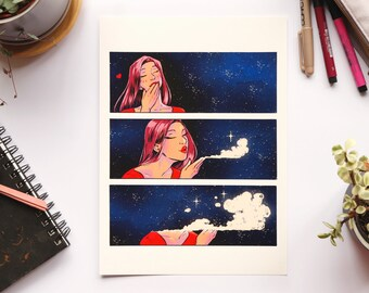 Air Kisses - Archival Print - A4 & A5 Print - Comic Animation Space Bright Feminist Colour Original Art Illustration