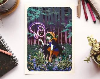Huntress Wizard - Archival Print - A4 & A5 Print - Comic Animation Nature Plants Adventure Time Colour Original Art Illustration