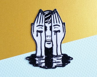 Crying Hands Applique Iron on Patch - Black and White - DIY Embroidered Patch