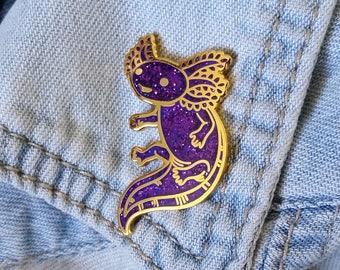Axolotl Hard Enamel Pin - Purple Glitter and Gold - Lapel Pin Cloisonné Badge