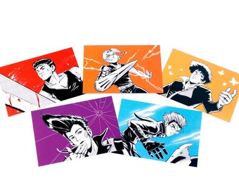 Anime Boys Postcard Set - 5 Postcards - Anime Cartoon Vash Trigun Guts Spike Cowboy Bebop Edward Elric FMA Redline Sweet JP Art Illustration