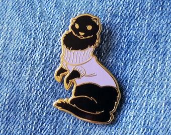 Ferret in Turtleneck Sweater Hard Enamel Pin - Black, Purple, and Gold - Lapel Pin Cloisonné Badge
