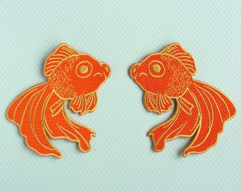 NEW Sad Fish Applique Iron on Patch - Orange and Gold - DIY Embroidered Patch