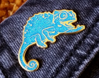 LIMITED EDITION - Happy Chameleon Hard Enamel Pin - Blue Glitter and Gold - Lapel Pin Cloisonné Badge