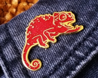 LIMITED EDITION - Happy Chameleon Hard Enamel Pin - Red Glitter and Gold - Lapel Pin Cloisonné Badge