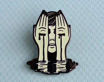 LIMITED EDITION - Radioactive Girl Hard Enamel Pin - Black Nickel, Yellow Glow Enamel - Lapel Pin Cloisonné Badge
