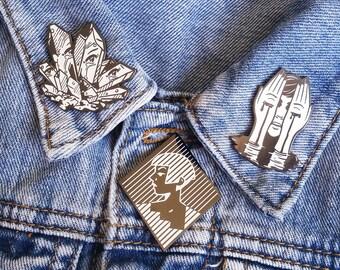 Fractured Women Hard Enamel Pin - Black Nickel, White Glitter, and White Glow Enamel - Lapel Pin Cloisonné Badge