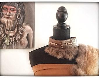 KANGAROO FUR COLLAR, leather collar, unique necklace, choker necklace, earthy jewellery, artisan necklace, ritual jewellery, boho tribal