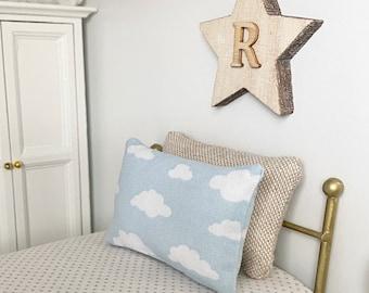 Miniature Cloud Print Pillow/Cushion - 1:12 Scale | Modern Miniature | Dollhouse Miniature | Dollhouse Decor