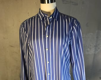 4b01d5e1 banana republic button up shirt blouse blue white stripe pin ruffle