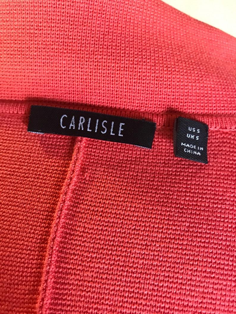 carlisle peach salmon pink red designer gift quality cardigan zip front pocket blazer