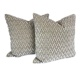 """PAIR of 22"""" Jonathan Adler for Kravet CORIA- Mineral Cut Velvet Pillow Covers"""