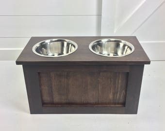 Raised Dog Bowl Stand With Storage   Wooden Dog Stand Dish Bowls   Elevated  Dog Bowl Feeder Stand   Cat Dish   Pet