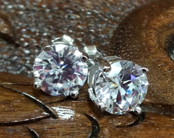 925 Sterling Silver Synthetic Birthstone Earring.